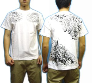 画像5: 紅雀 和柄 【牛若丸と弁慶】 武将 Tシャツ (名入れ刺繍可)通販 刺青 和彫り デザイン