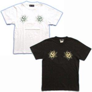 画像2: 紅雀 和柄 【髑髏牡丹の流水】 Tシャツ (名入れ刺繍可)通販 刺青 和彫り デザイン