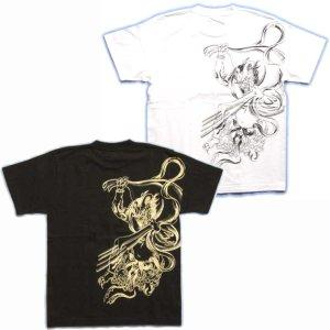 画像3: 風神雷神筋彫風和柄Tシャツ通販