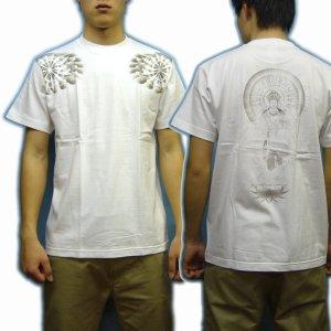 画像4: 勢至菩薩 立像の仏像画 和柄 Tシャツ 紅雀ブランド通販 名入れ刺繍可 胸割 刺青 和彫り 和柄服