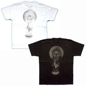 画像3: 勢至菩薩 立像の仏像画 和柄 Tシャツ 紅雀ブランド通販 名入れ刺繍可 胸割 刺青 和彫り 和柄服