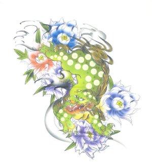画像1: 紅雀 和柄 唐獅子 フルカラー プリント Tシャツ 刺青 和彫り デザイン