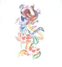 紅雀 和柄 鳳凰 蓮 フルカラー プリント Tシャツ 刺青 和彫り デザイン