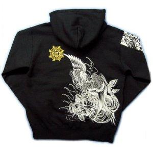画像3: 鳳凰胸割 和柄 パーカー スエット刺青デザインの紅雀(名入れ刺繍可)通販 派手 パーカー 和柄服