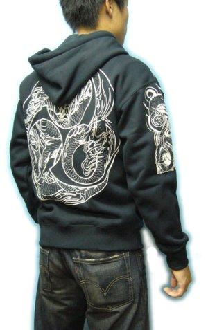 画像5: 巴炎龍 和柄 パーカー スエット刺青デザインの紅雀(名入れ刺繍可)通販 派手 パーカー 和柄服