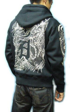 画像5: 龍辰梵字 和柄 パーカー スエット刺青デザインの紅雀(名入れ刺繍可)通販 派手 パーカー 和柄服