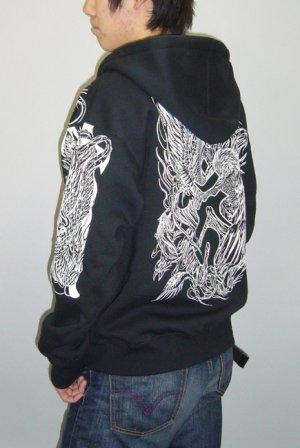 画像5: 鳳凰酉梵字 和柄 パーカー スエット刺青デザインの紅雀(名入れ刺繍可)通販 派手 パーカー 和柄服